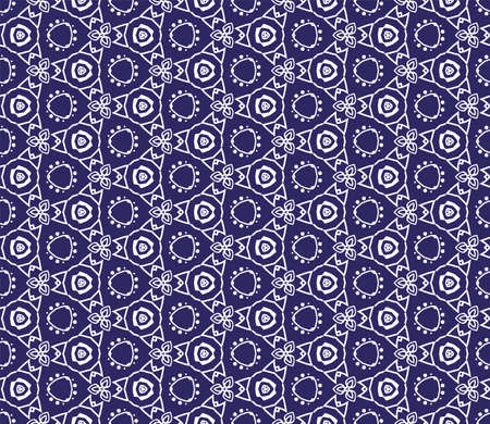 Intricate geometric pattern in classic blue and white seamless pattern vector background