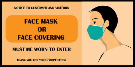 Wear face mask notice. Wear face mask symbol and safety sign vector. Face mask and face covering must be worn to enter. mask warning messages. Safety sign during corornavirus. yellow background.