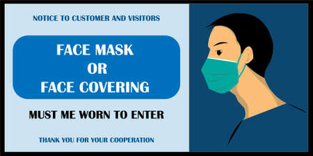 Wear face mask notice. Wear face mask symbol and safety sign vector. Face mask and face covering must be worn to enter. mask warning messages. Safety sign during corornavirus. blue background.  イラスト・ベクター素材