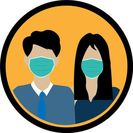 wear face mask sign and symbol. Safety sign during coronavirus. Wear surgical mask sign vector in yellow background. Wear face mask notice.