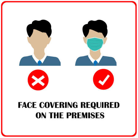 Wear face mask symbol. Face covering required on the premises. Protect yourself from coronavirus concept. Mandatory surgical mask sign vector. white background