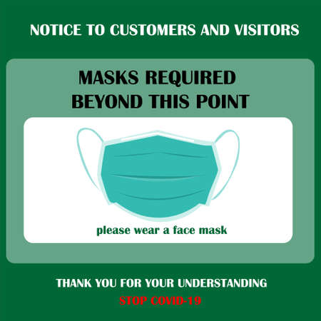 Wear face mask symbol. Please do not enter without a face mask. Protect yourself from coronavirus concept. Mandatory surgical mask sign vector. New normal during coronavirus. Social distancing symbol.
