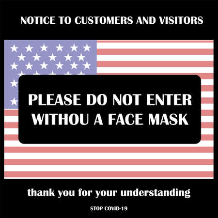 Wear face mask symbol. Please do not enter without a face mask. Protect yourself from coronavirus concept. Mandatory surgical mask sign vector.