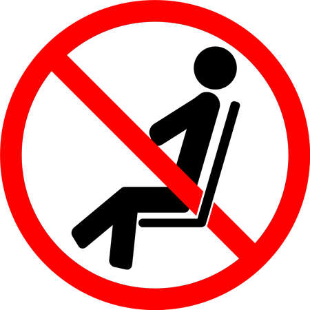 No sitting. Do not sit here. Do not sit on surface. Prohibition sign. Black forbidden symbol in red round shape. Safety sign. Social distancing sign. Safety sign to stop the spread of Coronavirus.