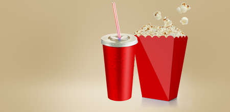 Salty popcorn isolated on white background , 3d rendering red cup carton box. suitable for your design element. Imagens