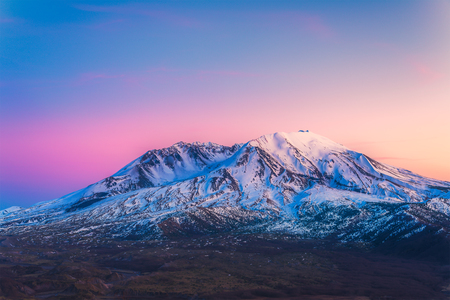 helens: scenic view of mt st Helens with snow covered  in winter when sunset ,Mount St. Helens National Volcanic Monument,Washington,usa. Stock Photo