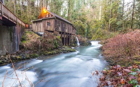 tranfer: scene of the Cedar creek grist mill in the morning,Washington,usa. Stock Photo