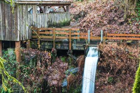 grist mill: millrace  in old grist mill,Washington,usa.