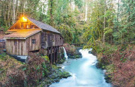 tranfer: scene of the Cedar creek grist mill in the morning,Washington,usa. Stock Photo