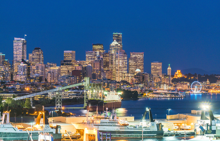 seattle city scape with dock  and silo at night ,Washington,usa.  for editorial use only 051116. 에디토리얼