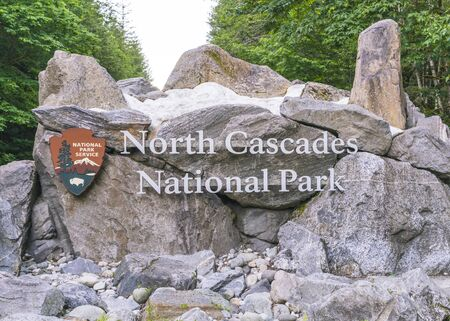 sign in the entrance of North cascade National park,Washington,usa.