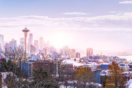 space needle in the morning light, in Downtown Seattle ,shoot from Kerry Park viewpoint,in winter,Washington,USA.