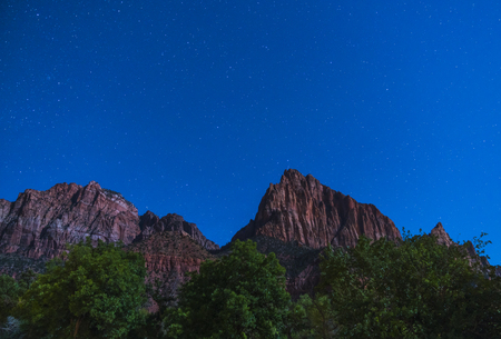 Zion national park at night with star,utah,usa. Imagens