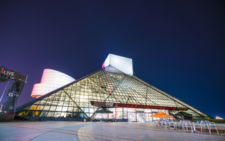 rock and roll hall of frame.cleveland,ohio,usa.2-19-17: rock and roll hall of frame at night. Editorial