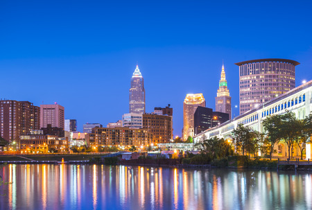 cleveland skyline with reflection at night,cleveland,ohio,usa.