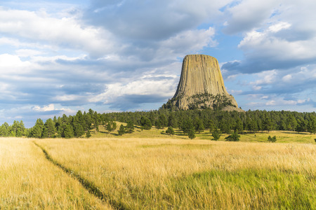 Devils Tower National Monumenton sunny day ,wyoming,usa.