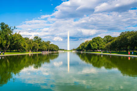 washington dc,Washington monument on sunny day with blue sky background.