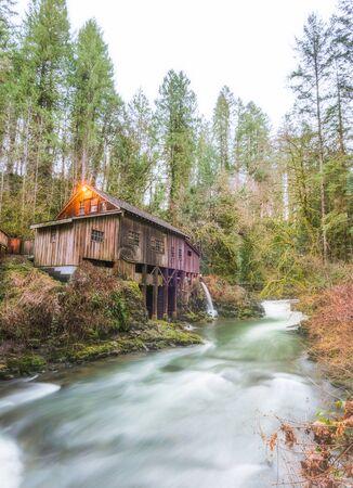 scene of the Cedar creek grist mill in the morning,Washington,usa. Standard-Bild