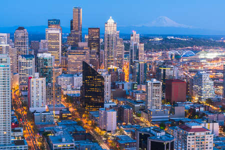 scenic view of down town of seattle city at night,Seattle,Washington,usa. for editorail use only.
