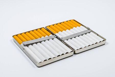 a aluminium box of cigarette on white blackground..