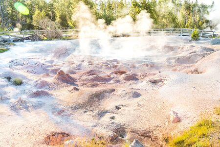 scenic view of color full Geysers in the morning ,Yellowstone National Park ,USA..