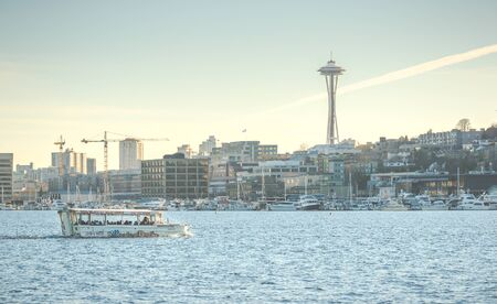 ride the duck,road-lake tour on sunny day,Seattle,Washington,USA.