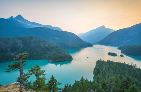 lake Diablo at sunset,North cascade National park,Washington,usa.