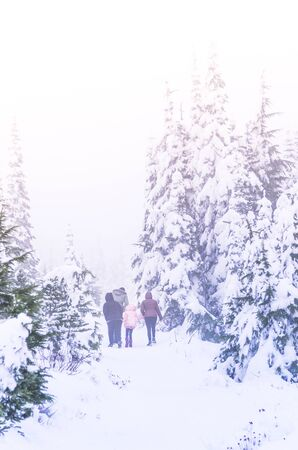 family walk in snow forest on holiday.