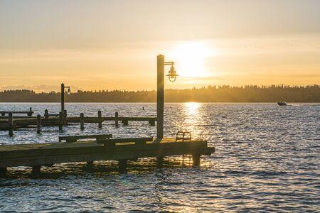 beautiful yatch dock in the sunset.