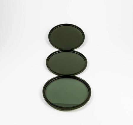 camera nd (Neutral-density ) filter on white background.
