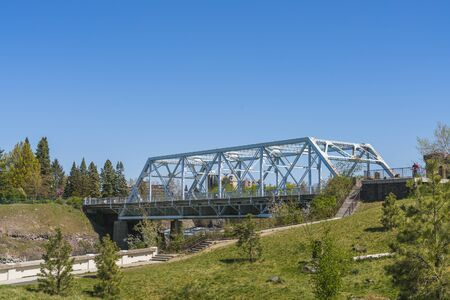 steel bridge in Riverfront Park on the sunny day,Spokane,Washington,usa.   for edityorial use only  04/17/16.