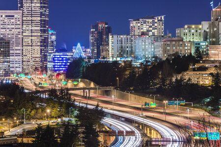 seatte city scape with freeway at night,Washington,usa.