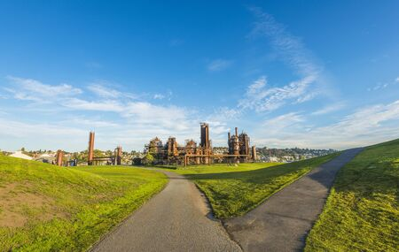 Gas works Park in sunny day with blue sky,Seattle,Washington,USA.
