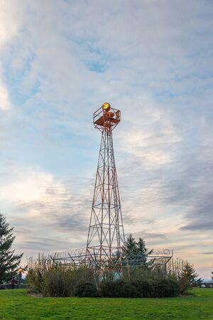 Telecommunication mast television antennas on sunset