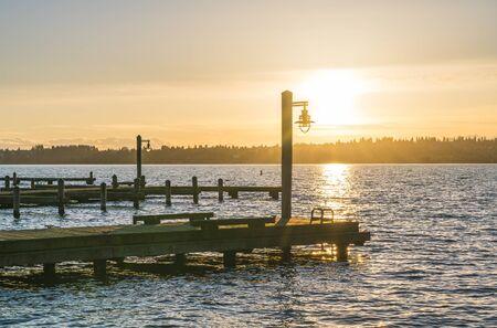 beautiful yatch dock in the sunset. Stock Photo