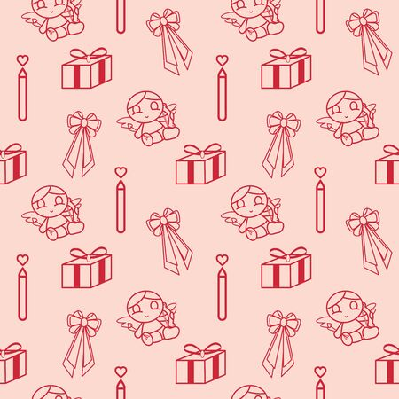 Valentines-related red symbols and icons pattern collection