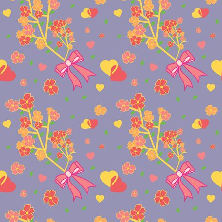 Valentines day flower bouquet and hearts pattern collection