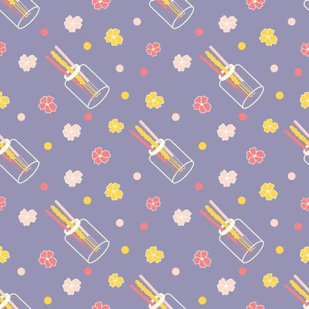 Valentines day colorful sweet pocky and floral pattern Ilustracja