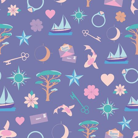 Lucky Symbols Collection Illustration Seamless Pattern Background
