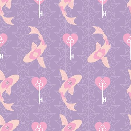 Lucky Symbols Collection Background Seamless Pattern Number 7 Illusztráció