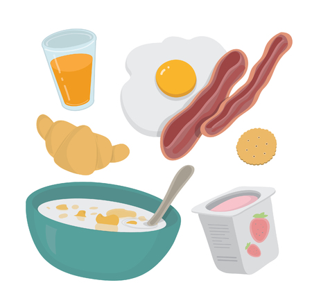corn flakes: Breakfast vector set Illustration
