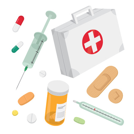 First aid kit vector set