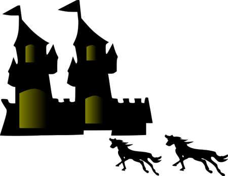 chevaux noir: Unique ch�teau historique Castillo et cool 2 chevaux noirs de course