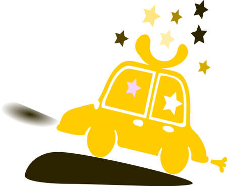 small car: deep yellow orange colorful small car and colorful stars pattern vector graphic illustration art