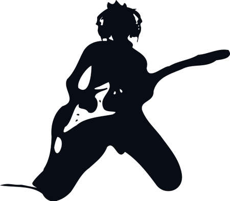 guitariste rock: La star du rock rock guitariste de rock jouant & concert de musique m�tal divertissements rocker shiluouette illustration vectorielle art graphique