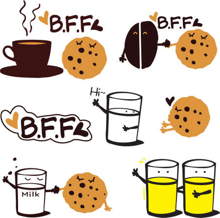 bff: BFF Tasty Cookies With Drinks Illustration