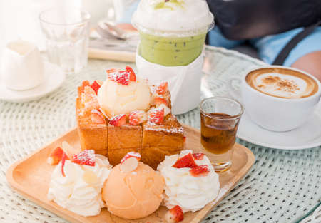Afternoon break with dessert and coffee and green tea