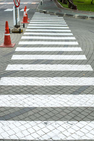 White small crosswalk on the road