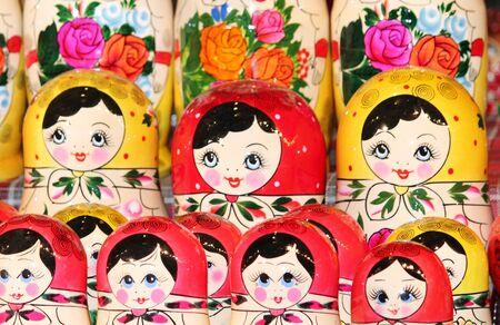 matroushka: Babushka Russian traditional nesting dolls in various sizes