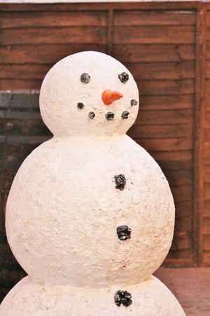 Christmas snowman model with carrot and coal photo